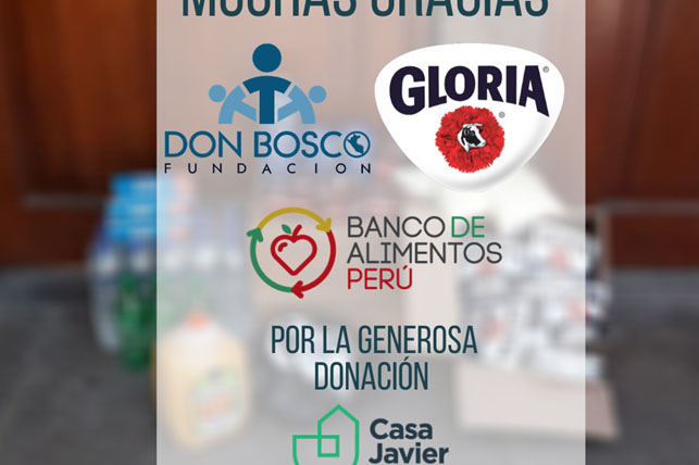 Agradecemos a Banco de Alimentos, Gloria y Don Bosco por sus donaciones durante la cuarentena.